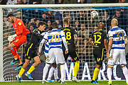 Brentford goalkeeper David Raya Martin (1) misses the ball and sees if fly across an open net during the EFL Sky Bet Championship match between Queens Park Rangers and Brentford at the Kiyan Prince Foundation Stadium, London, England on 28 October 2019.