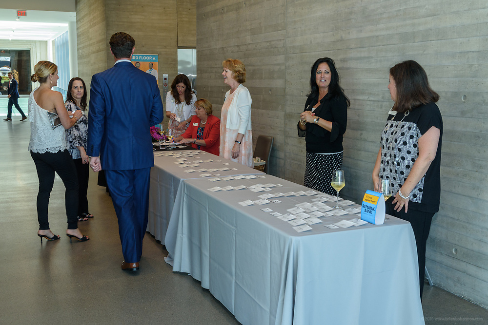 Registration at the 10-year anniversary celebration of Republic Bank's Private Banking and Business Banking divisions Wednesday, May 17, 2017, at the Speed Art Museum in Louisville, Ky. (Photo by Brian Bohannon)