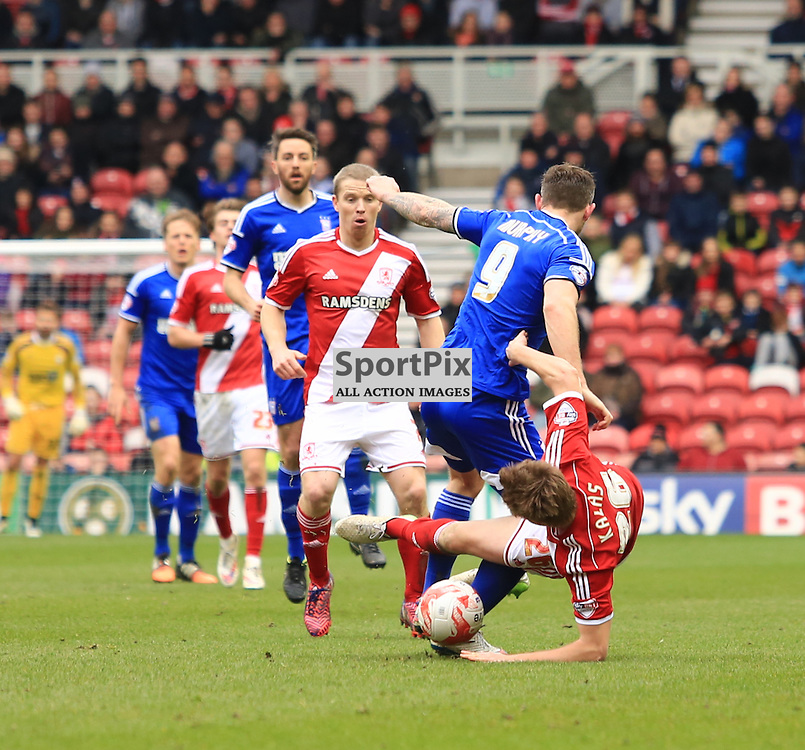 Middlesbrough defender Tomas Kalas makes a rash challenge on Ipswich's Daryl Murphy during the Middlesbrough FC v Ipswich Town FC Sky Bet Championship 14th March 2015 ©Edward Linton | SportPix.org.uk