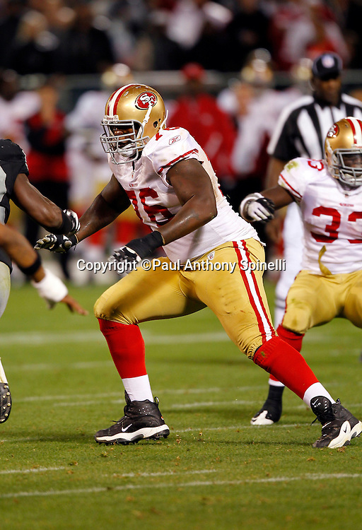 San Francisco 49ers offensive tackle Anthony Davis (76) makes a move during the NFL preseason week 3 football game against the Oakland Raiders on Saturday, August 28, 2010 in Oakland, California. The 49ers won the game 28-24. (©Paul Anthony Spinelli)
