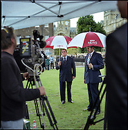 UK. London. The Village Green: From Blair to Brexit.<br /> A story on the relationship between the Media, Politicians and the public as they come together on College Green, a small patch of land next to The Houses of Parliament in Westminster. <br /> Photo shows Former Deputy Prime Minister Lord Prescott talking to the BBC on the day Gordon Brown took over as British Prime Minister.<br /> Photo&copy;Steve Forrest/Workers' Photos