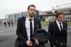 Samir Handanovic and Zlatko Dedic at departure of Slovenia's National football team to Belfast, Northern Ireland for EURO 2012 Quaifications game between National teams of Slovenia and Northern Ireland, on March 28, 2011, at Airport Edvard Rusjan, Maribor, Slovenia. (Photo by Vid Ponikvar / Sportida)