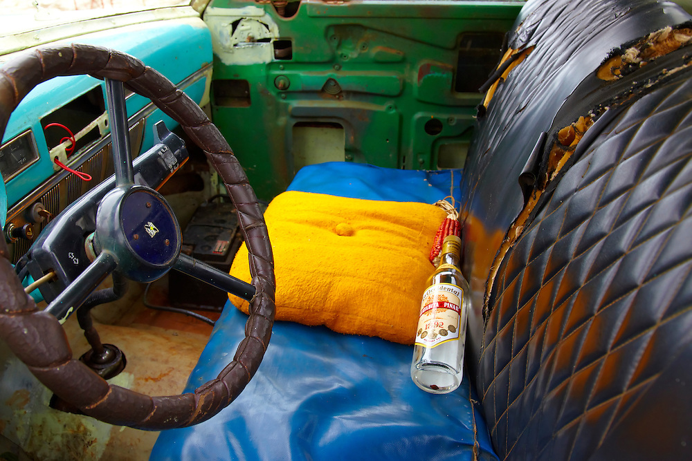 Truck interior in Pinar del Rio, Cuba.