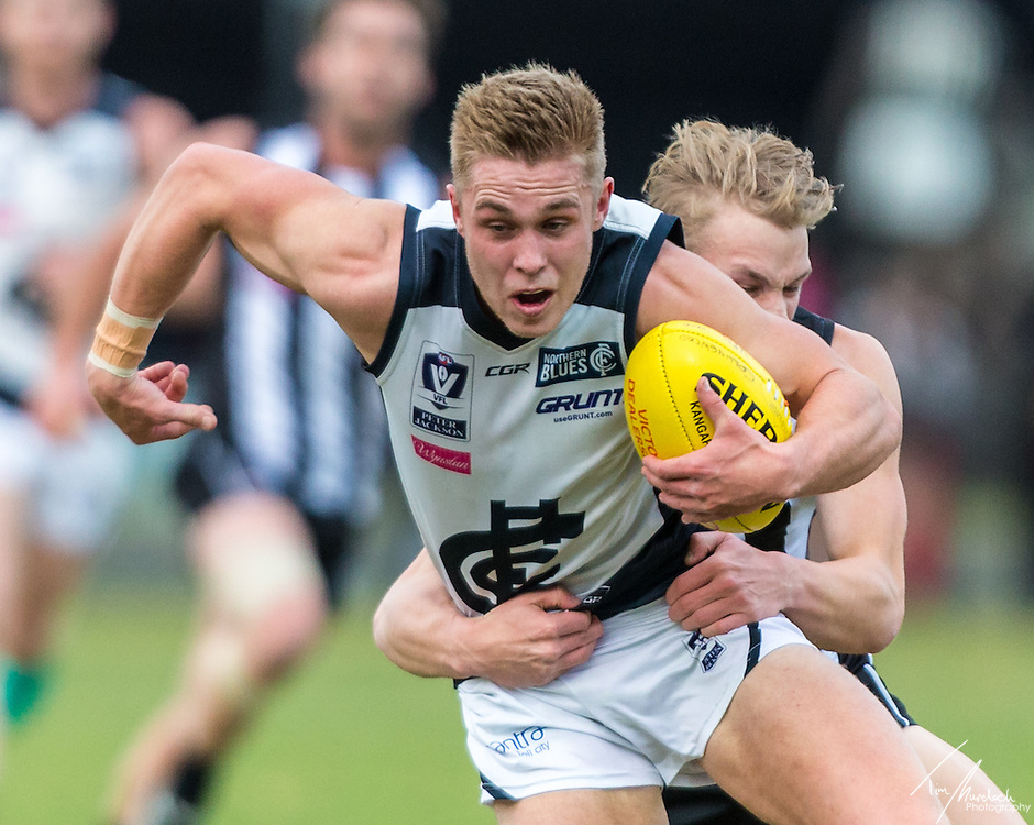 Saturday 2 July 2016<br /> <br /> 2016 Peter Jackson VFL Season<br /> <br /> Round 13<br /> Collingwood Magpies vs Northern Blues<br /> Holden Centre<br /> <br /> #PJVFL #WeMarchNorth<br /> <br /> Photo Credit: Tim Murdoch/Tim Murdoch Photography