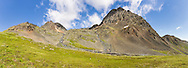 Composite panorama of cascades along Crow Pass Trail in Chugach National Forest in Southcentral Alaska. Summer. Afternoon.