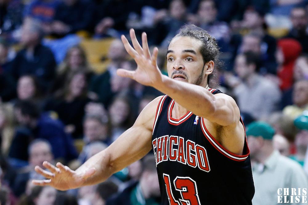 18 January 2013: Chicago Bulls center Joakim Noah (13) is seen on defense during the Chicago Bulls 100-99 overtime victory over the Boston Celtics at the TD Garden, Boston, Massachusetts, USA.