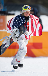 February 12, 2018 - Pyeongchang, South Korea - JAMIE ANDERSON of the USA sprints to the awards stand after taking the gold medal in the Womens Snowboard Slopestyle finals at Phoenix Snow Park at the Pyeongchang Winter Olympic Games.  Photo by Mark Reis, ZUMA Press/The Gazette (Credit Image: © Mark Reis via ZUMA Wire)