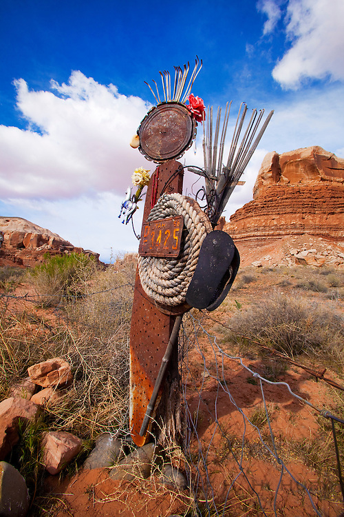 350381-1004 ~ Copyright: George H. H. Huey ~ Cloud Watcher Studio sculpture of found objects, Bluff, Utah. [Bluff, Utah is a small town that is a mixture of multi generational Mormon families and recently arrived artists and river guides for the nearby San Juan River].