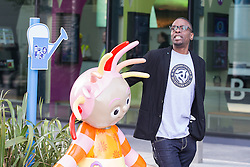 © Licensed to London News Pictures . 19/03/2015 . Salford Quays , UK . PAUL LEVERIDGE ( Kermit ). Black Grape photocall at The Green , Salford Quays , Greater Manchester . Black Grape are reforming for a Madchester charity gig along with other local bands , to raise awareness for Bez's Reality Party and anti-fracking . Photo credit : Joel Goodman/LNP