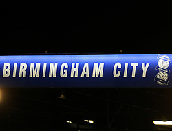General view (GV) of the Birmingham City logo on the main stand  - Mandatory by-line: Paul Roberts/JMP - 22/08/2017 - FOOTBALL - St Andrew's Stadium - Birmingham, England - Birmingham City v Bournemouth - Carabao Cup