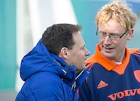 ROTTERDAM -  Bondscoach Bas Bruin met KNHB bestuurder tophockey heren, Stephan Veen.   Test Match Hockey : Netherlands Boys U18  v England U18 . COPYRIGHT KOEN SUYK
