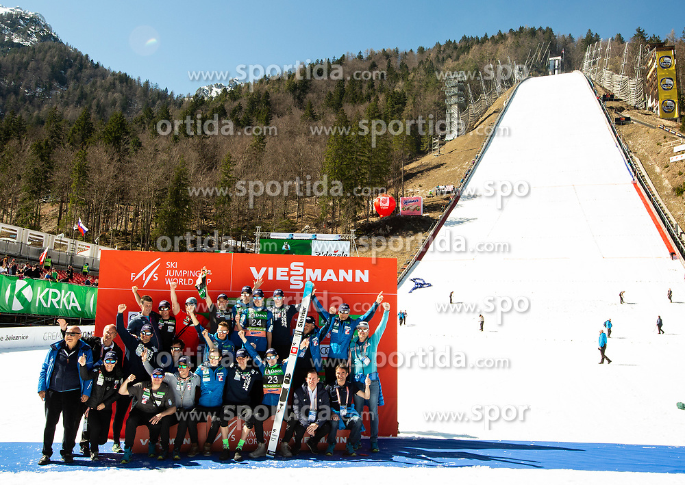 Photo of Team Slovenia after the Ski Flying Hill Individual Competition at Day 4 of FIS Ski Jumping World Cup Final 2019, on March 24, 2019 in Planica, Slovenia. Photo by Vid Ponikvar / Sportida
