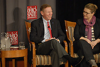 Alan Mulally (left), President and CEO of Ford Motor Company and Jeni Britton Bauer (right), President of Jeni's Splendid Ice Creams at the 'Conversation on the Economy,' a forum held at Pfahl Hall in the Fisher College of Business at Ohio State on Nov. 30, 2010..