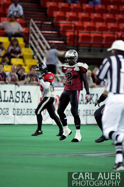 6-28-2007: Anchorage, AK - Demarcus Morris (2) of the Wild gets set for the first quarter in the Alaska Wild 47 to 53 loss to the CenTex Barracudas at the Sullivan Arena.