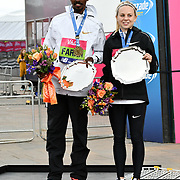 Mo Farah and Charlotte Purdue winner of the elite race at The Vitality Big Half 2019 on 10 March 2019, London, UK.