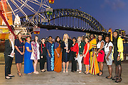 Wednesday 5 August - Captain's Call at the Luna Park Welcome Function of Netball World Cup 2015 SYDNEY. <br /> Captain's Call at the Luna Park Welcome Function. L-R NZL Casey Kopua, ENG Geva Mentor, SAM Juliana Naoupu-Laban, SCO Hayley Mulheron, WAL Suzy Drane, FIJ Mere Rabuka Neiliko, SRI Semini Alwis, AUS Laura Geitz, ZAM Annie Mukamba, RSA Maryka Holtzhausen,<br /> Photo: Narelle Spangher (NWC2015 Media)<br /> For editorial news use only