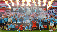 Football - 2018 FA Community Shield - Chelsea vs. Manchester City Manchester City players celebrate with the Community Shield after their 2-0 victory at Wembley Stadium. COLORSPORT/DANIEL BEARHAM