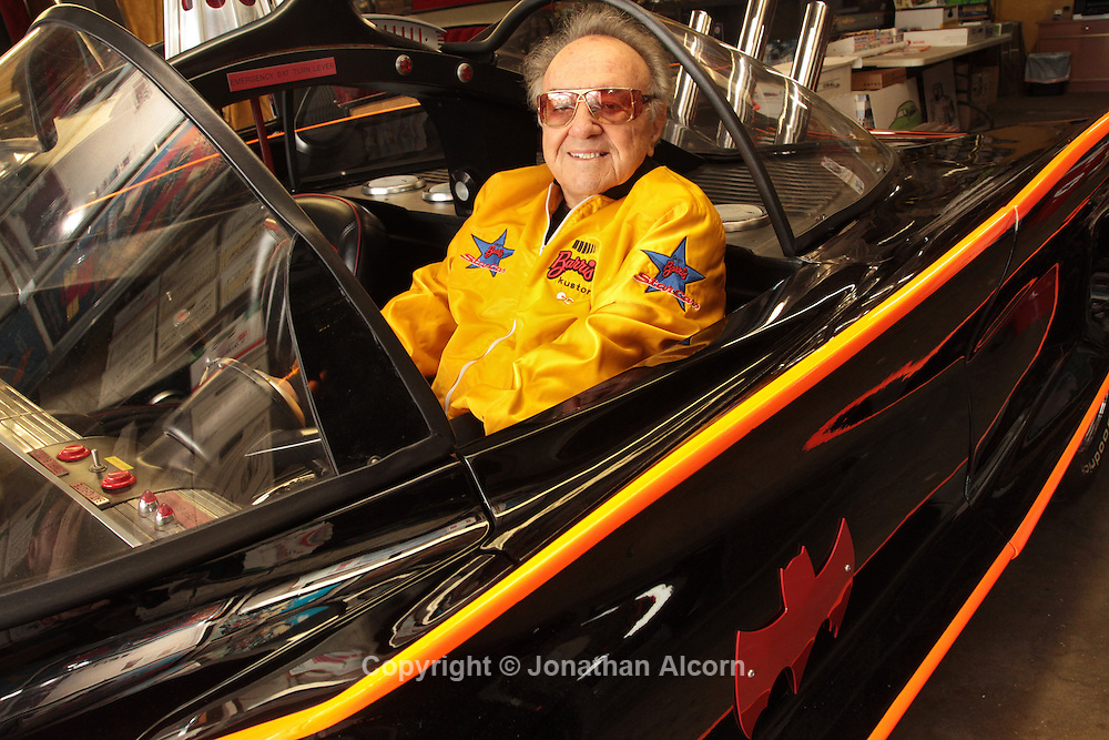 George Barris, creator and owner of the original Batmobile from the televisIon series sits inside the batmobile at Barris Kustom Industries, in North Hollywood, California, U.S., on Tuesday, Mar. 22, 2011. The original Batmobile sold for $4.62 million last night as Batman fans and automobile collectors joined a classic-car auction in Arizona. The owner and creator George Barris had previously vowed never to sell it.