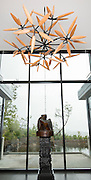 James Surls Flower Fields sculpture installation at Saffron Fields Vineyards tasting room, Yamhill, Oregon