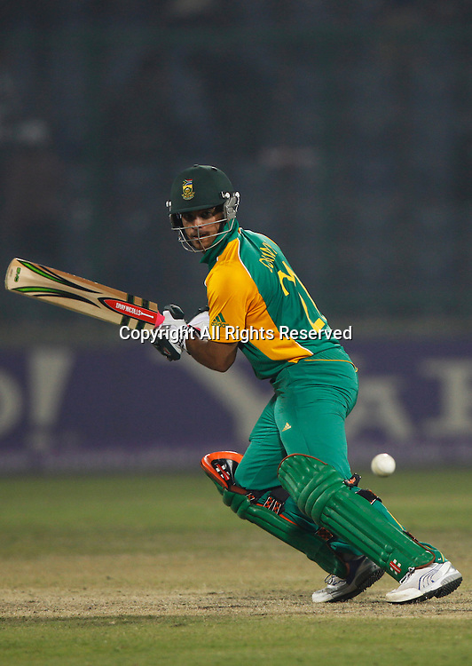 24.02.2011 Cricket World Cup from the Feroz Shah Kotla stadium in Delhi. South Africa v West Indies. Jean-Paul Duminy during the match of the ICC Cricket World Cup between South Africa and West Indies on the 24th February 2011