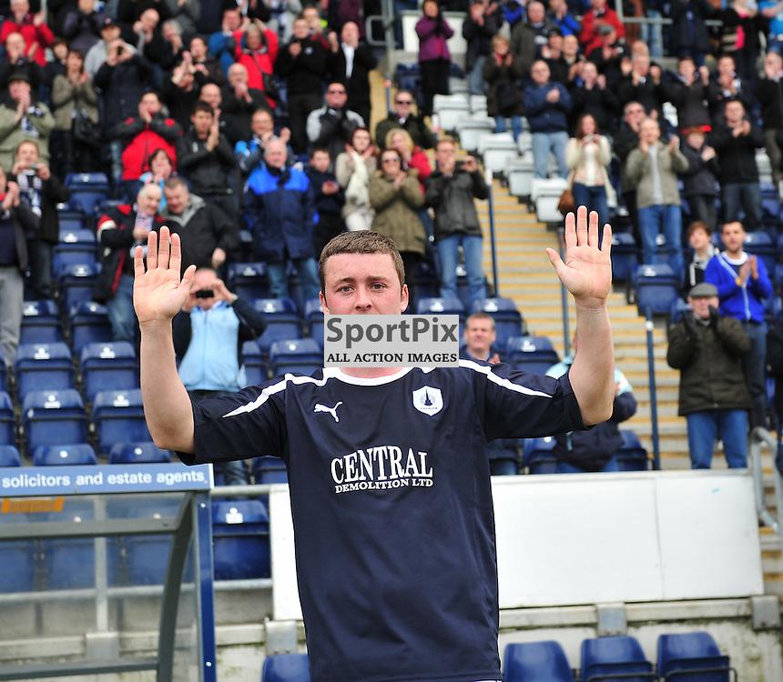 Tam Scobbie says farewell to the fans..Falkirk v Ayr, SFL 1st Division, Saturday 5th May 2012..ALEX TODD | STOCKPIX.EU
