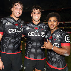 DURBAN, SOUTH AFRICA - MAY 27: Etienne Oosthuizen  with Kobus van Wyk and Garth April of the Cell C Sharks during the Super Rugby match between Cell C Sharks and DHL Stormers at Growthpoint Kings Park on May 27, 2017 in Durban, South Africa. (Photo by Steve Haag/Gallo Images)