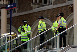 UK ENGLAND LONDON 8JUL05 - Metropolitan Police evacuate Liverpool Street Station in the city of London due to a suspect package found. The station was one of the multiple targets of yesterday's terrorist bomb attacks on London's public transport system. At least 37 people have been killed and hundreds injured after four blasts on the Underground network and a double-decker bus in London...jre/Photo by Jiri Rezac ..© Jiri Rezac 2005..Contact: +44 (0) 7050 110 417.Mobile:  +44 (0) 7801 337 683.Office:  +44 (0) 20 8968 9635..Email:   jiri@jirirezac.com.Web:    www.jirirezac.com..© All images Jiri Rezac 2005 - All rights reserved.
