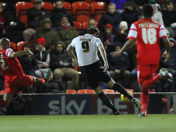 James Hanson Bradford City's forward scores a goal - Photo mandatory by-line: Mitchell Gunn/JMP - Mobile: 07966 386802 - 18/02/2015 - SPORT - Football - London - Brisbane Road - Leyton Orient v Bradford City - Sky Bet League One