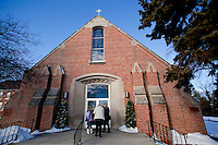 "CHAMPION, WI - DECEMBER 22: Visitors come to pray and worship at the Shrine of Our Lady of Good Help in a small rural town in northern Wisconsin, December 22, 2010 in Champion, Wisconsin. After years of research, the Bishop of Green Bay determined that the sightings of Mary ""clothed in dazzling white"" are indeed ""worthy of belief"" and now have now been officially sanctioned as real by the Vatican. This shrine is the first of such for the United States and now joins the company of Lourdes and Fatima.   (Darren Hauck)"