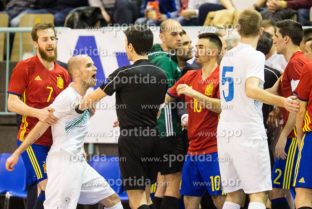 Pola of Spain, Igor Osredkar of Slovenia, referee during futsal match between National teams of Slovenia and Spain in Play off of FIFA Futsal World Cup Colombia 2016 Qualifications, on March 22, 2016 in Arena Tabor, Maribor, Slovenia. Photo by Vid Ponikvar / Sportida