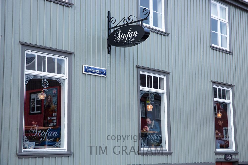 Stofan cafe restaurant in Vesturgata - in the old town area of capital city of Reykjavik, Iceland