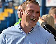 Bury Manager David Flitcroft shares a joke with the staff before the Sky Bet League 1 match between Bury and Coventry City at Gigg Lane, Bury, England on 26 September 2015. Photo by Mark Pollitt.