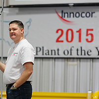 Thomas Wells | BUY at PHOTOS.DJOURNAL.COM<br /> Innocor General Manager Kevin Lindsey congratulates employees at Innocor in Baldwyn on Friday as their plant was selected to be the best facility inside the company.