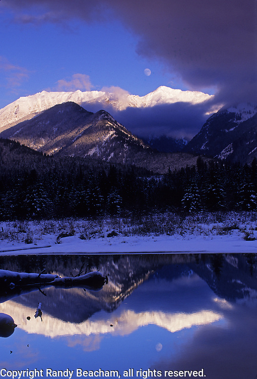 Cabinet Mountains and Bull River in winter. Bull River Valley, northwest Montana