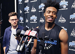June 16, 2018 - Orlando, FL, USA - Former Alabama player Collin Sexton smiles as he talks to reporters after a workout for the Orlando Magic at the Amway Center in Orlando, Fla., on Saturday, June 16, 2018. (Credit Image: © Stephen M. Dowell/TNS via ZUMA Wire)