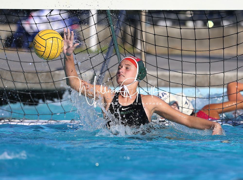 (Photograph by Bill Gerth for SVCN) Homestead #1 goal keeper Tori Zelinski defends the goal vs Saratoga in a SCVAL Girls Water Polo match at Homestead High School, Sunnyvale CA on 10/20/16.  (Homestead 3 Saratoga 2)