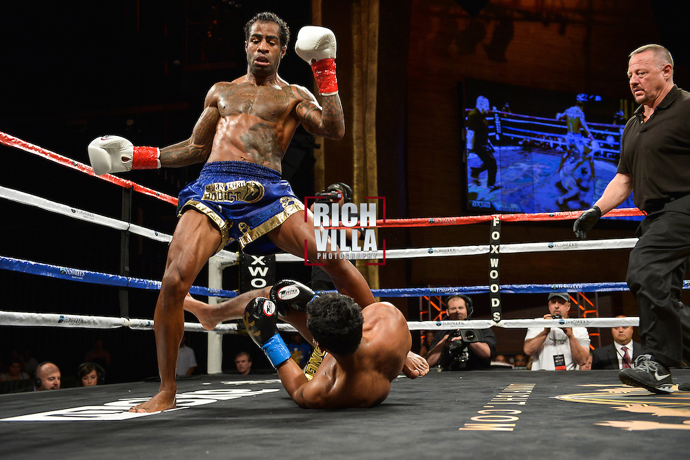 Jo Nattawut(blue tape) Vs Cosmo Alexandre(red tape) at the Lion Fight 17 event in Foxwoods Resort and Casino in Mashantucket, CT on Friday, August 1st, 2014