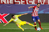 Atletico de Madrid´s Juanfran (R) during Champions League soccer match between Atletico de Madrid and FC Astana at Vicente Calderon stadium in Madrid, Spain. October 21, 2015. (ALTERPHOTOS/Victor Blanco)
