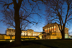 Night view of Neues Museum and Alte Nationalgalerie on Museumsinsel, Museum Island, UNESCO World Heritage Site, in Mitte, Berlin, Germany.