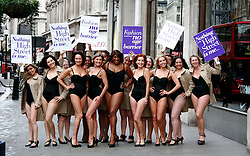 """© under license to London News Pictures.  13/1/2011. Models take to the streets of London to protest against the """"one size fits all"""" mentality of the fashion industry and celebrate the launch of isme.com, a new home shopping brand providing fashion and homewares. Photo credit should read Craig Shepheard / London News Pictures"""