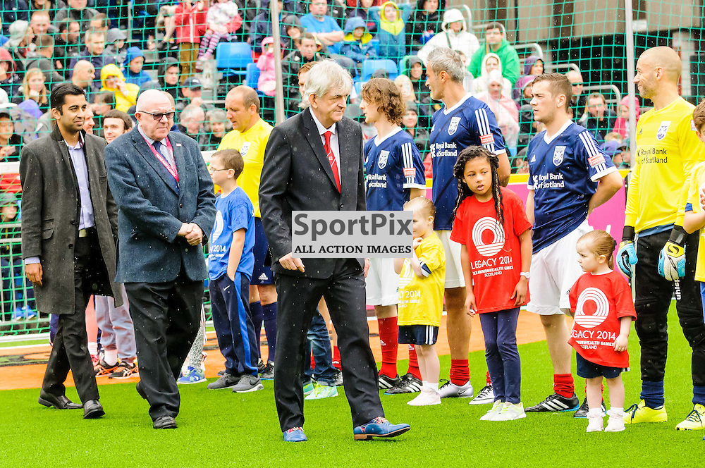 Mel Young Co-Founder and President of the Homeless World Cup and Councillor Archie Graham OBE with the Scotland team at the opening ceremony at the Homeless World Cup in Glasgow, 10 July 2016. (c) Paul J Roberts / Sportpix.org.uk
