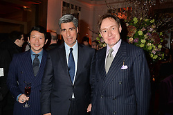 Left to right, WEI KOH, STEPHEN AIDEN and NICK FOULKES at a reception hosted by The Rake Magazine and Claridge's to celebrate London Collections 2015 held at Claridge's, Brook Street, London on 8th January 2015.