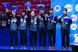 May 5, 2018 - Halmstad, SVERIGE - 180505 Japan med sina silvermedaljer efter damernas final mellan Kina och Japan under dag 7 av Lag-VM i Bordtennis den 5 maj 2018 i Halmstad  (Credit Image: © Carl Sandin/Bildbyran via ZUMA Press)