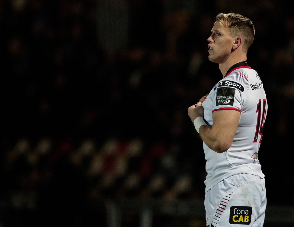 Ulster's Craig Gilroy<br /> <br /> Photographer Simon King/Replay Images<br /> <br /> Guinness Pro14 Round 10 - Dragons v Ulster - Friday 1st December 2017 - Rodney Parade - Newport<br /> <br /> World Copyright © 2017 Replay Images. All rights reserved. info@replayimages.co.uk - www.replayimages.co.uk