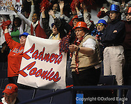 "Ole Miss fans cheer vs. LSU on Sunday, January 17, 2010 at the C.M. ""Tad"" Smith Coliseum in Oxford, Miss."