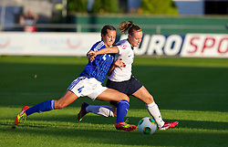 28.08.2013, Richmond Park, Carmarthen, ENG, UEFA Damen U19 EM, England vs Finnland, im Bild England's Bethany Mead in action against Finland's Katarina Naumanen during the Semi-Final match of the UEFA Women's Under-19 Championship Wales 2013 tournament at Richmond Park. during the UEFA women U 19 championchip group A match between England and Finland at Richmond Park in Carmarthen, Great Britain on 2013/08/28. EXPA Pictures © 2013, PhotoCredit: EXPA/ Propagandaphoto/ David Rawcliffe<br /> <br /> ***** ATTENTION - OUT OF ENG, GBR, UK *****