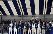 Henley, Great Britain.  Henley Royal Regatta. Upper Yarra Rowing Club, Australia, AUS, Winners of the  Thames Challenge Cup Trophy, raise the Trophy, in celebration. River Thames,  Henley Reach.  Royal Regatta. River Thames Henley Reach. Sunday  16:45:07  03/07/2011  [Mandatory Credit/Intersport Images] . HRR