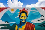 Painting of a Balinese woman, Tegallalang,  Bali, Indonesia