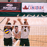 1st year setter Jake Fleming (1) of the Regina Cougars and 3rd year middle blocker Cody Caldwell (4) of the Regina Cougars in action during the Women's Volleyball Home Game vs U of C Dinos on October21 at the CKHS University of Regina. Credit Arthur Ward/©Arthur Images 2017
