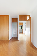 Architecture, Interiors of empty apartment, room with bathroom, open door